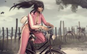 Обои лето, девушка, велосипед, лицо, стиль, ветер, волосы