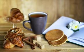 Картинка фон, чай, размытие, сахар, книга, корица, вафли, выпечка, круассаны, tea, baking