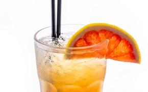 Картинка стакан, лёд, долька, коктейль, трубочка, напиток, грейпфрут, лимонад