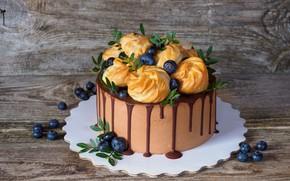 Картинка ягоды, шоколад, мята, выпечка, Торт