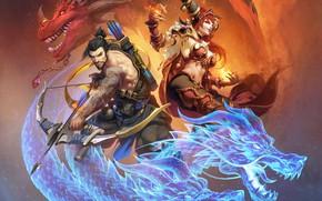 Картинка blizzard, art, dragon, overwatch, hanzo, Hanzo Shimada
