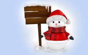 Картинка зима, рендеринг, праздник, Новый год, снеговик, детская