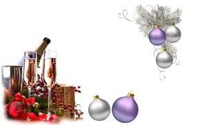 Картинка праздник, шары, новый год, арт, шампанское