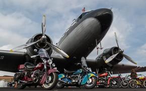Картинка самолет, мотоциклы, байки