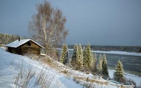 Обои снег, река, Печора