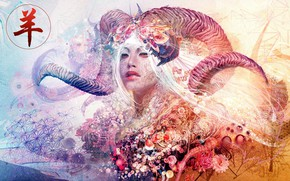 Картинка colors, colorful, abstract, girl, horns, texture, eyes, face, rendering, asian, digital art, artwork, Aries, Psychedelic, ...