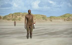 Картинка берег, Англия, скульптуры, Сефтон