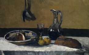 Картинка стол, бокал, картина, хлеб, кувшин, Натюрморт, Камиль Писсарро