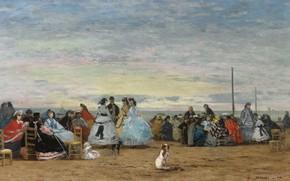 Картинка люди, отдых, стулья, собака, картина, жанровая, Эжен Буден, Eugene Boudin, Сцена на Пляже. Трувиль