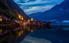 Картинка горы, город, огни, озеро, вечер, Австрия, Хальштатт