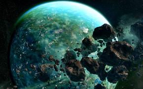 Картинка космос, осколки, планета