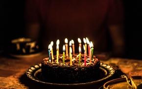 Обои свечи, праздник, торт