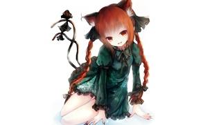 Картинка платье, белый фон, косички, рыжая, touhou, art, маникюр, оборки, два хвостика, Touhou Project, Rin Kaenbyou, …