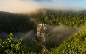 Обои туман, Германия, Eltz Castle, лесистые холмы