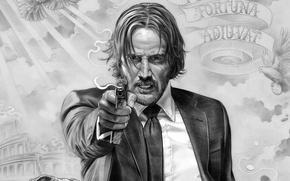 Обои cinema, gun, pistol, weapon, man, movie, film, Keanu Reeves, suit, powerful, strong, tie, John Wick, ...