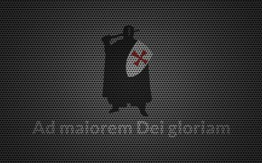 Обои red, latin, metal, cross, motto, knight Templar, AdmaioremDeigloriam, textures, knight, shield, Crusader