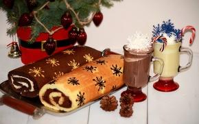 Картинка праздник, Рождество, кружки, гирлянда, шишки, выпечка, рулет