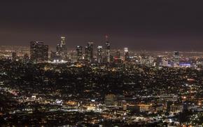 Картинка ночь, город, огни, панорама, California