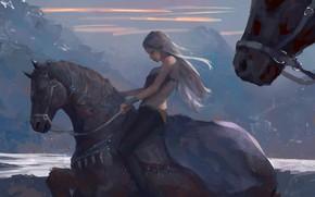 Картинка girl, fantasy, mountains, horses, painting, artwork, fantasy art, Elf, white hair, pointed ears, WLOP