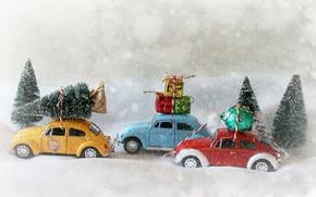 Обои снег, игрушки, Рождество, подарки, Новый год, конфета, машинки, модельки, ёлочки