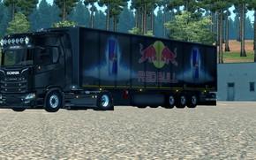 Картинка wheels, New, Game, low, Scania, Trailer, fast, RedBull, slow, S-line, lowered, elsa3dany1design, EuroTruckSimulator, lowdeck, elsa3dany1, …