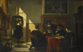 Картинка масло, интерьер, картина, холст, Компания в Костюмах 17 века за Столом, Johannes Stroebel
