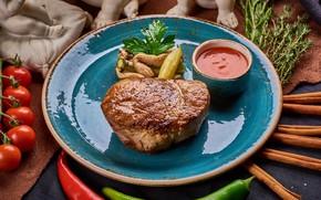 Картинка мясо, помидоры, соус, стейк
