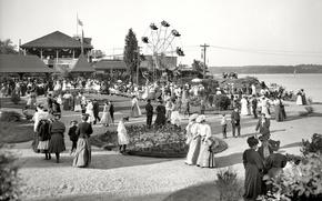 Картинка ретро, парк, люди, колесо обозрения, США, выходной, 1904-й год