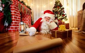 Картинка праздник, елка, Новый Год, Рождество, подарки, ёлка, камин, Санта Клаус
