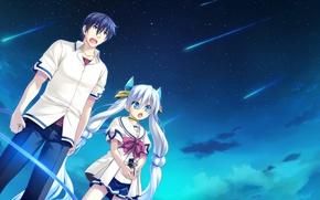 Картинка девушка, аниме, арт, парень, двое, Ryuusei Kiseki -Shooting Probe
