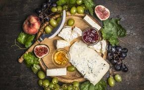 Картинка листья, сыр, виноград, персики, grapes, варенье, cheese, common fig