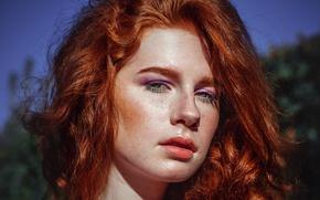 Картинка reflection, shadows, Redhead, freckles