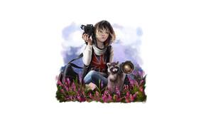 Картинка девушка, природа, фотоаппарат, енот