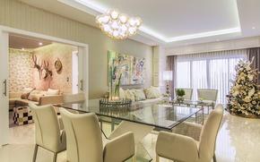 Обои дизайн, декор, студио, квартира, елка, стулья