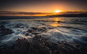 Картинка закат, побережье, Шотландия, Scotland, Aberdeenshire