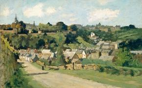 Обои пейзаж, картина, Гео Поггенбик, Вид на Динан во Франции