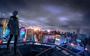 Картинка ночь, город, парень