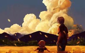 Картинка девушка, семья, парень, clannad, ребёнок, anime, art, nagisa furukawa, tomoya furukawa, ushio furukawa