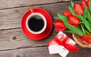 Картинка любовь, цветы, подарок, кофе, букет, чашка, тюльпаны, red, love, cup, romantic, tulips, Valentine's Day, gift, …