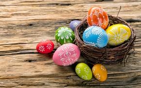 Обои colorful, wood, Easter, Пасха, happy, корзинка, яйца крашеные, spring, holiday, eggs