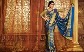 Обои Shriya Saran, sari, Jewelery, lips, saree, model, bollywood, cute, beauty, pose, indian, fashion, celebrity, sexy, ...