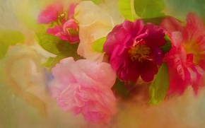 Картинка цветы, зеленый, фон, яркие, рисунок, розы, букет, лепестки, арт, шиповник, розовые, ярко, живопись, бутоны, алые, …