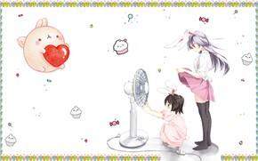Картинка лето, ветер, жара, аниме, вентилятор, арт, девочка, леденец, пирожное, зайчик, сердечко, малышка, ушки, хвостик, конфетка, …