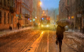 Обои девушка, снег, зонт, Санкт-петербург