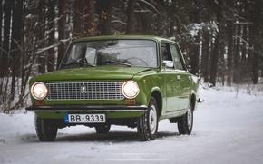 Обои зима, жигули, 2101, Копейка, зелёная