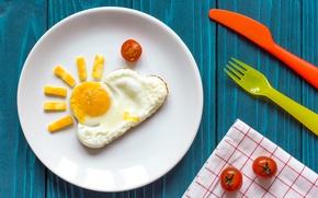 Обои завтрак, сыр, яичница, помидоры, солнышко, breakfast
