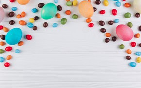 Картинка яйца, colorful, конфеты, Пасха, wood, spring, Easter, eggs, sweets, candy, decoration, Happy