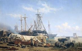 Картинка пейзаж, корабль, картина, жанровая, Johan Conrad Greive, Обеденное Время на Верфи на Реке Маас