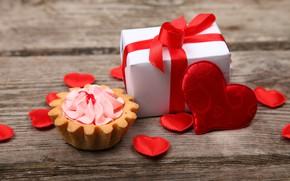 Картинка любовь, подарок, сердце, сердечки, love, пирожное, крем, heart, wood, romantic, Valentine's Day, gift, корзиночка