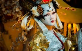 Обои азиатка, лицо, стиль, макияж